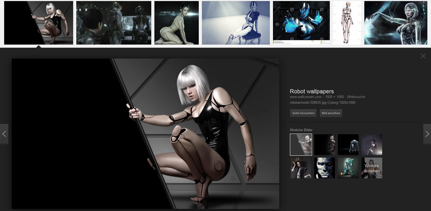 Screenshot der Google-Bildersuche nach 'female cyborg' (abgefragt am 20. Dezember 2015)