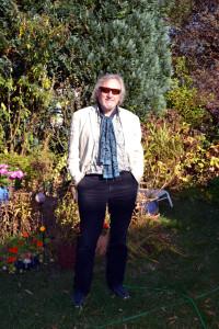 Klaus Theweleit in seinem Garten (November 2015)