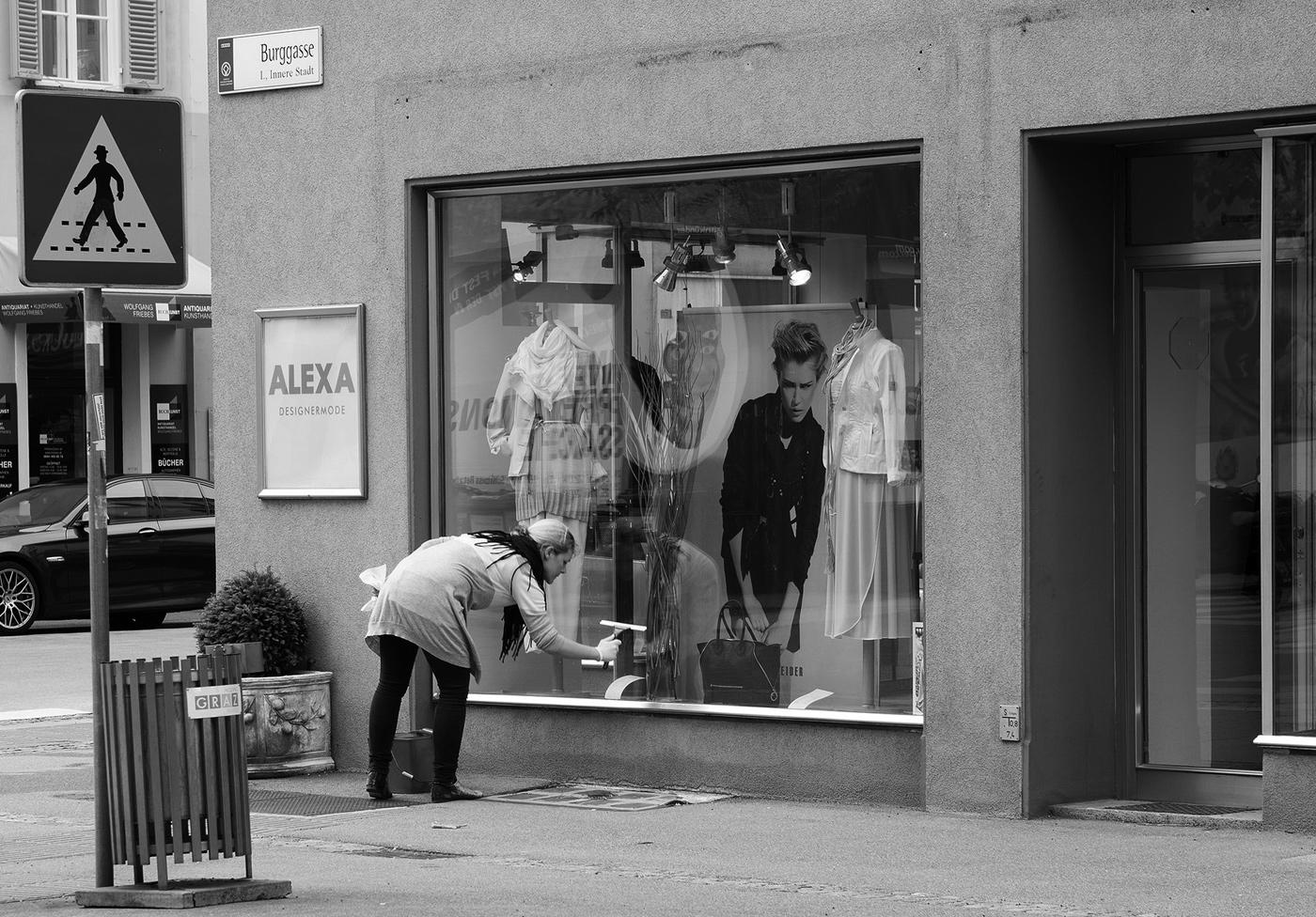 Schaufensterputzen in Graz