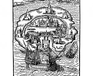 Titelholzschnitt aus Thomas Morus' Roman Utopia (1516)