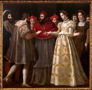 Chimenti, Jacopo. 1600. Die Hochzeit von Katharina von Medici und Heinrich II.