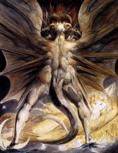 Blake, William. Ca. 1804. Der große Rote Drache und die Frau, mit der Sonne bekleidet (Aquarell).