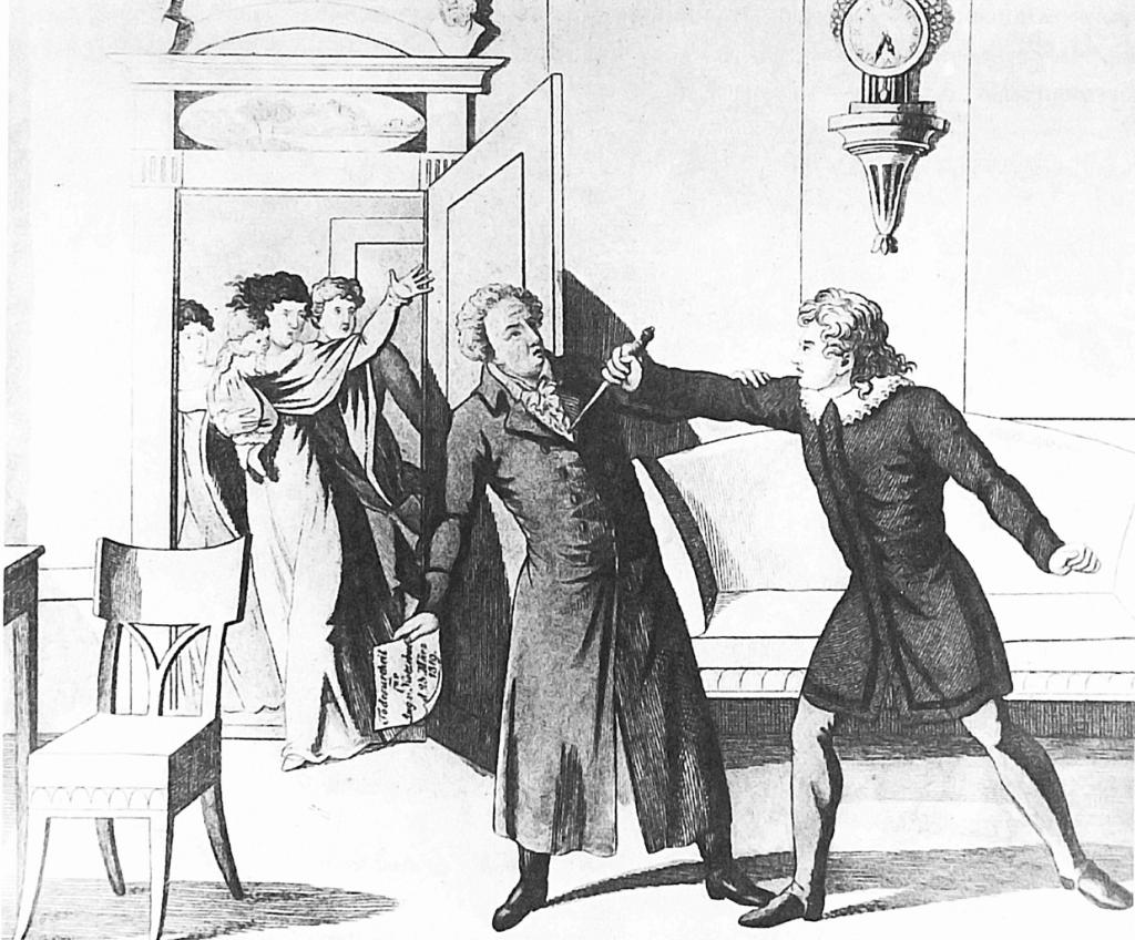 Die Ermordung August von Kotzebues durch den Burschenschaftler Karl Ludwig Sand am 23. März 1819. Kupferstich von Karl Anton Eisen (o.J.).